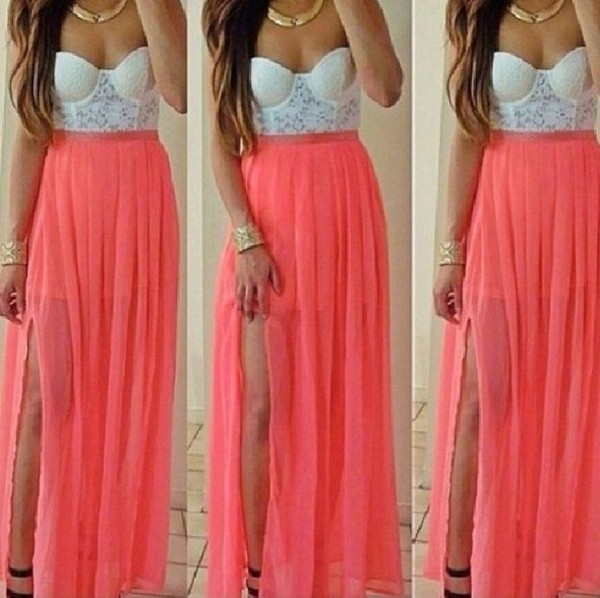 skirt peach white strapless lace maxi skirt crop tops top