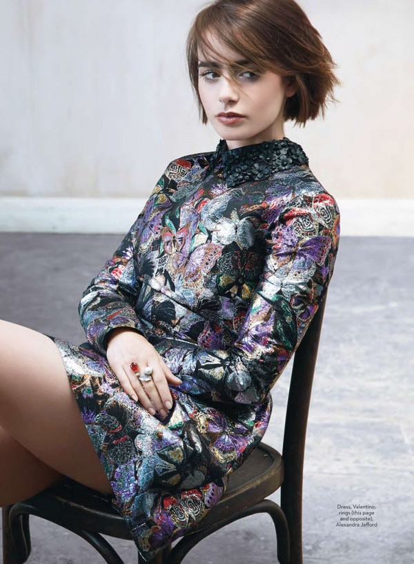 dress lily collins Valentino jacquard butterfly collar