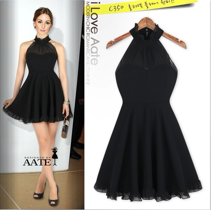 2013 NEW Europe Womens Fashion Elegant Halter Black Casual Dress-inDresses from Apparel & Accessories on Aliexpress.com