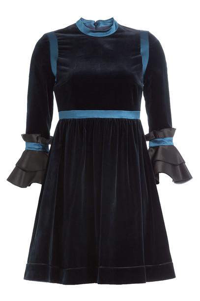 Roksanda Velvet Dress with Flared Sleeves  in blue