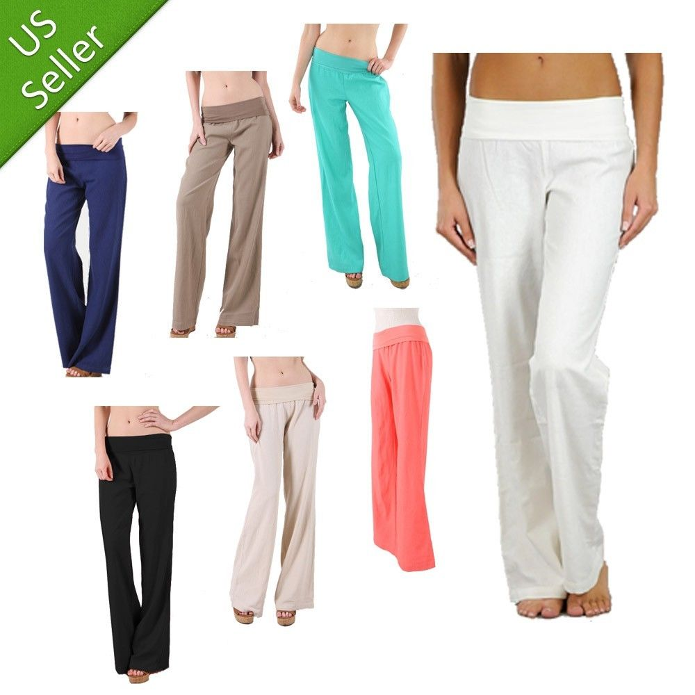New Comfy Fit Fold Over Summer Casual Linen Solid Color Wide Leg Pants Trousers