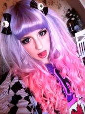 jewels,lolita,pastel,pastel goth,pastel grunge,goth,gothic lolita,pink dress,eyeball,hair bow,hair accessory