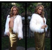 skirt,maxi skirt,sequin skirt,gold sequins,gold,jacket