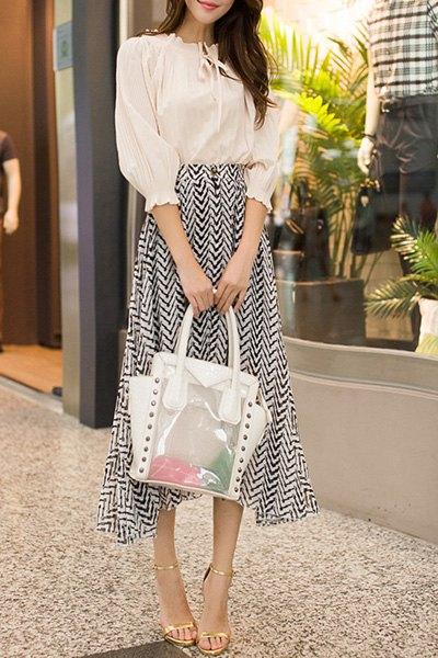 Charming Ruff Collar 3/4 Chiffon Blouse and Chevron Midi Skirt Twinset For Women