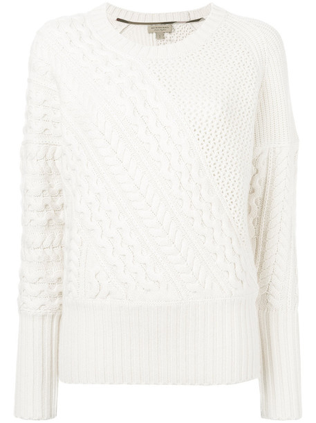 Burberry - cable knit jumper - women - Silk/Wool - XS, White, Silk/Wool