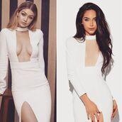 dress,white,long dress,white dress,bodycon,celebrity,style,gigi hadid