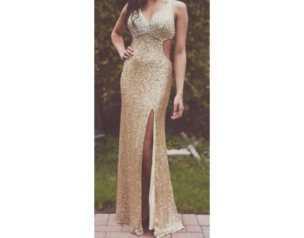 dress gold dress gold prom dress sequin dress prom dress