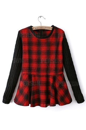 New Look Red Plaid Slim Sweater [SHWM00070] - PersunMall.com