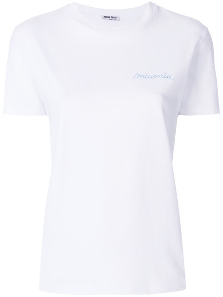Miu Miu t-shirt shirt t-shirt embroidered women white cotton top
