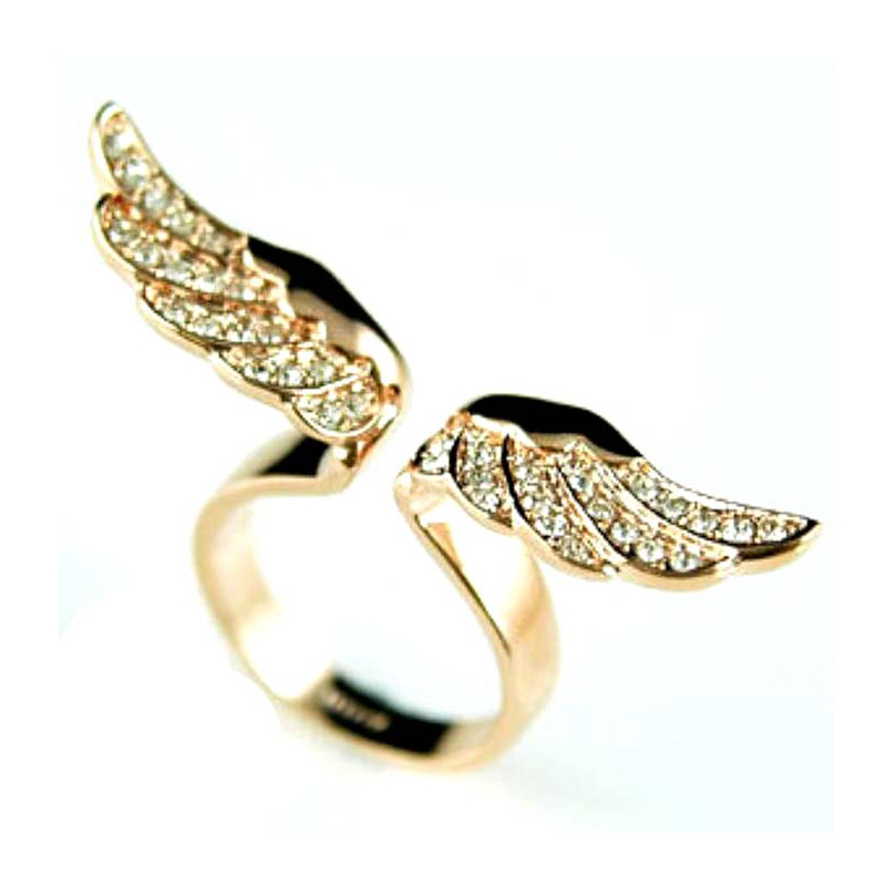Womens Vintage Fashion New Style Angel Wing Gold Plated Crystal ...