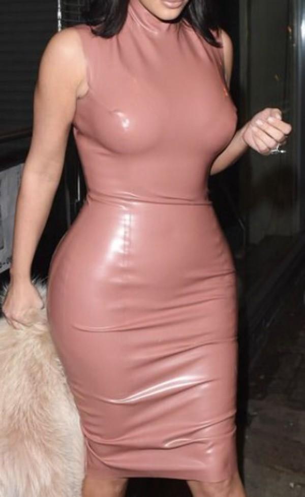 b0cc88e0878 dress kim kardashian dress latex dress nude dress pink dress.