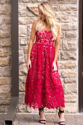 dress,red,red dress,crochet,crochet dress,lace dress,lace,holiday dress,cute,cute dress,love,outfit,ootd,midi dress,midi,trendy,date dress