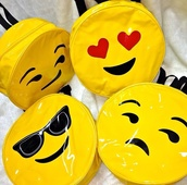 bag,yellow,emoji print,backpack