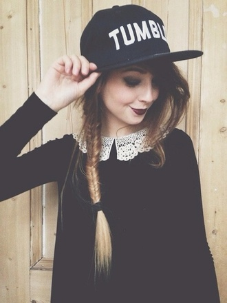 hat zoella tumlr amazing cap collared dress black cap