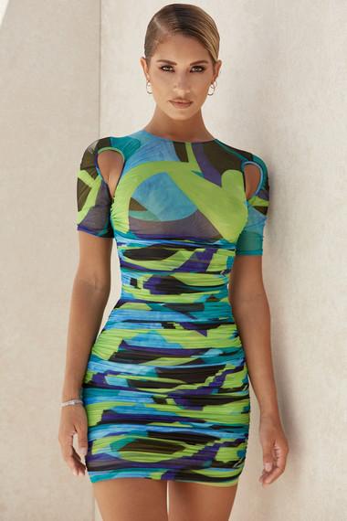 Clothing : Mini Dresses : 'Letitia' Multicolour Ruched Mesh Mini Dress