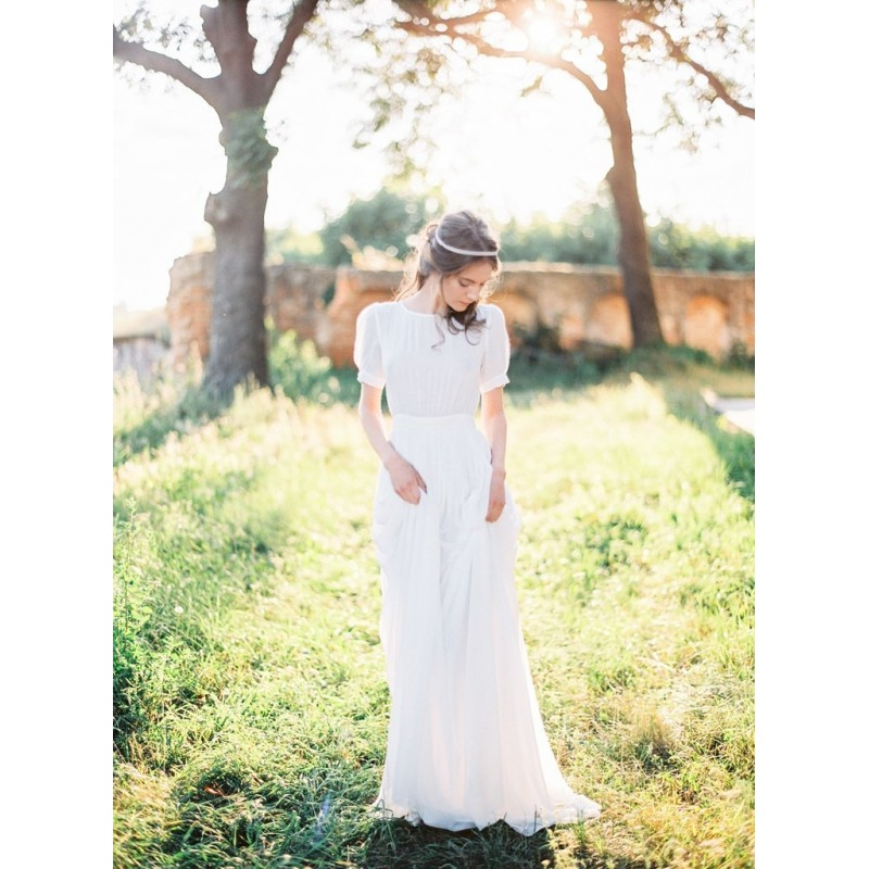 Sheath modest short fitted sleeve wedding dress - Hand-made Beautiful Dresses|Unique Design Clothing