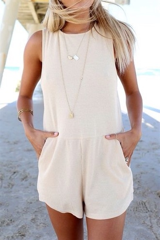 jumpsuit romper cream basic style summer