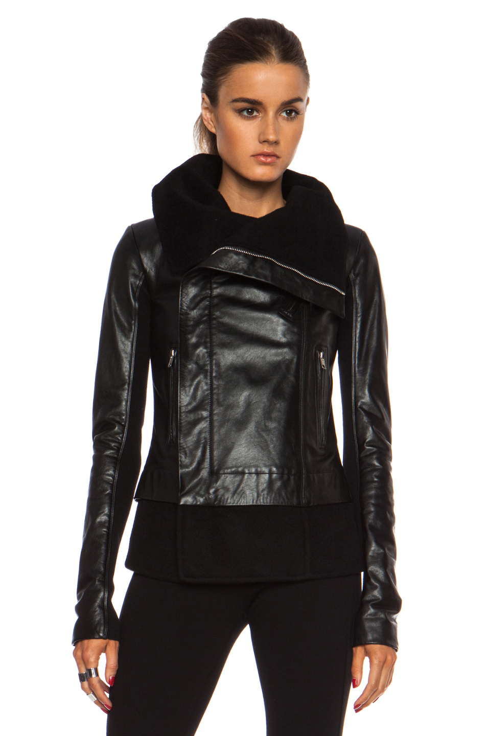 Rick Owens | Cashmere Lining Classic Biker Jacket in Black
