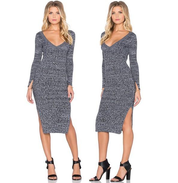 b2158801c30 dress wilde heart grey sweater grey sweater dress sweater bodycon dress v  neck dress v neck