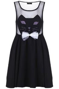 Romwe cat face black dress