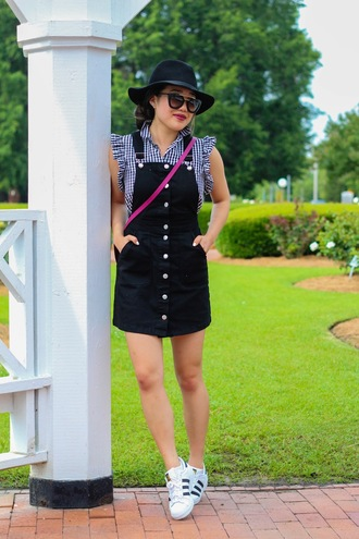 gracefullee made blogger bag sunglasses make-up hat adidas black dress black hat button up white sneakers streetwear h&m zara adidas superstars