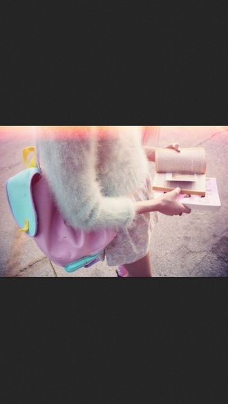 bag colourful backpack light blue pink yellow 90's sweater