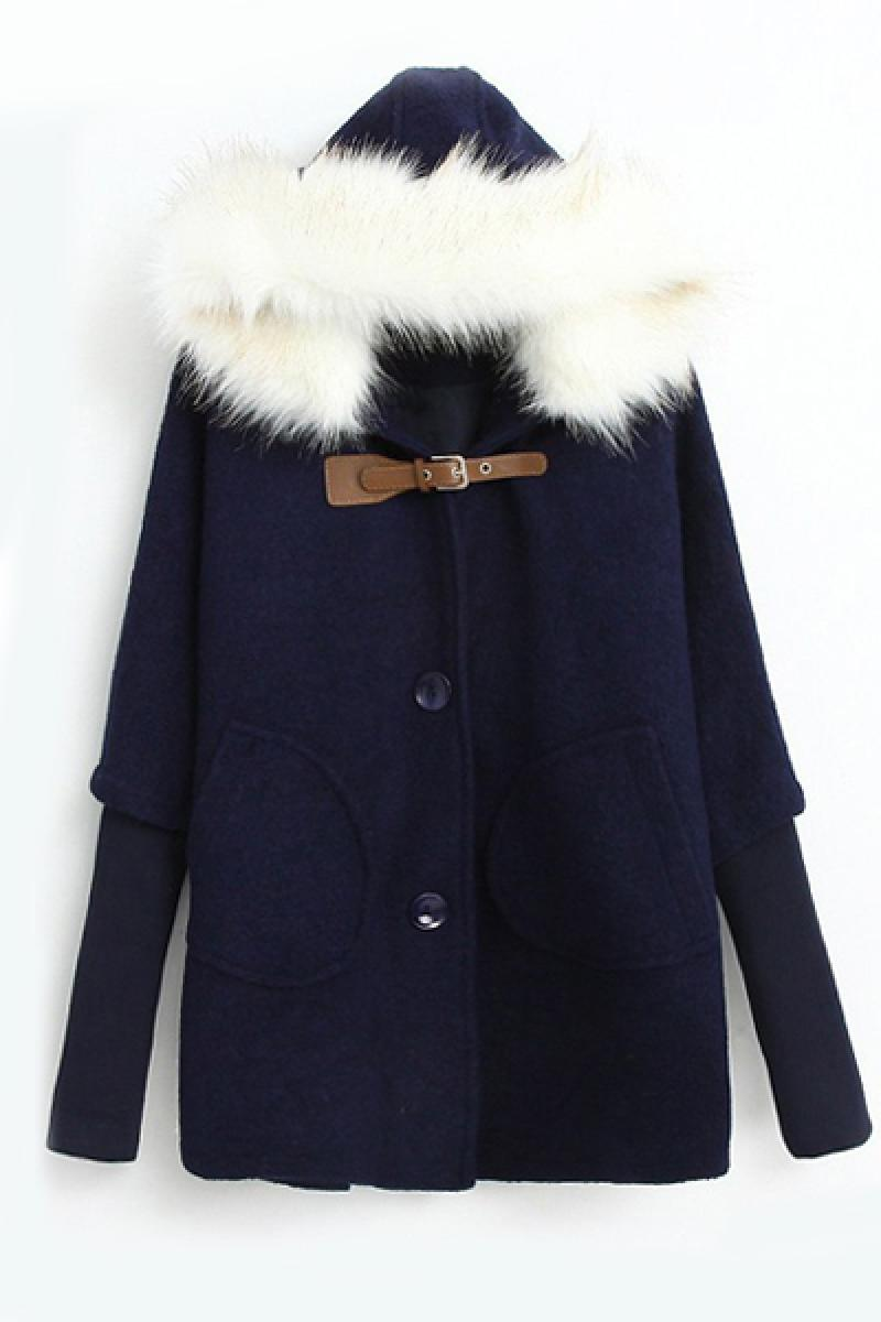 New Navy Bat Loose Horn Button Cape Cashmere Overcoat,Cheap in Wendybox.com