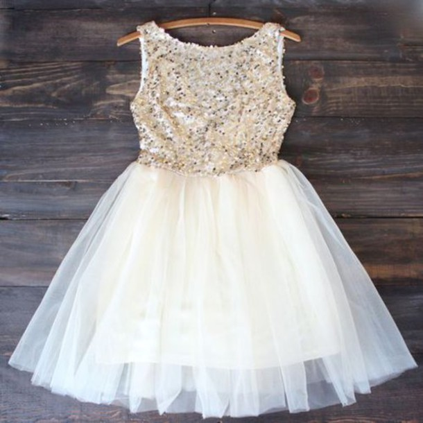 dress, prom dress, prom, party, short, white, sparkle, gold, tumblr ...