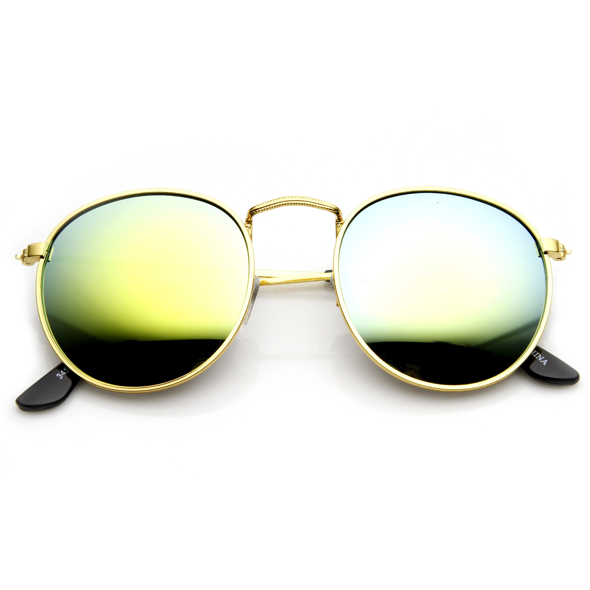 Trendy Retro P3 Round Flash Revo Mirror Lens Metal Sunglasses 9208