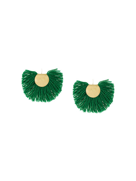 Katerina Makriyianni women earrings silver wool green bronze jewels