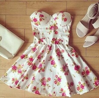dress floral roses white red fashion style shirt