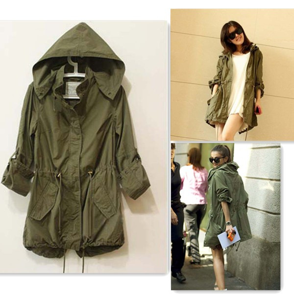 Lady Hoodie Drawstring Military Trench Jacket Coat Parka Army ...