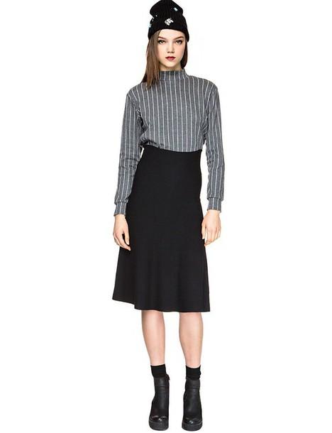 skirt high waisted skirt midi skirt black skirt knit skirt black knit skirt winter skirt fall skirt essentials pixie market pixie market girl