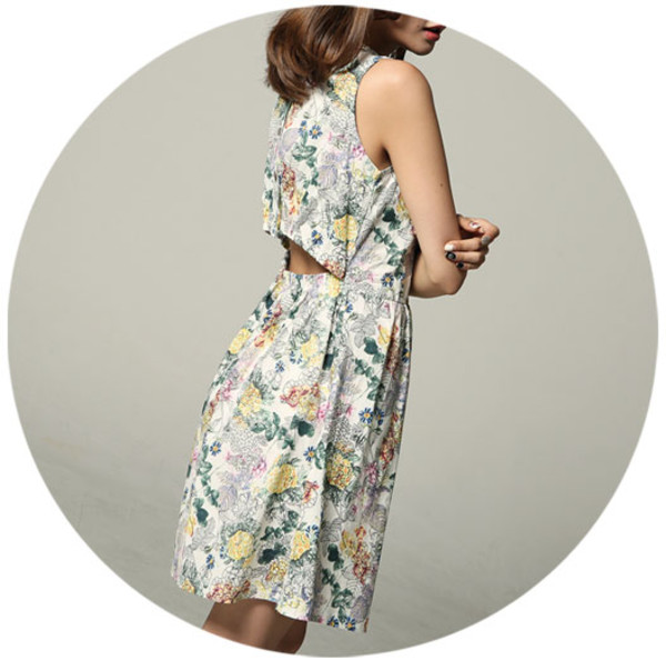 flowers open back dresses summer dress