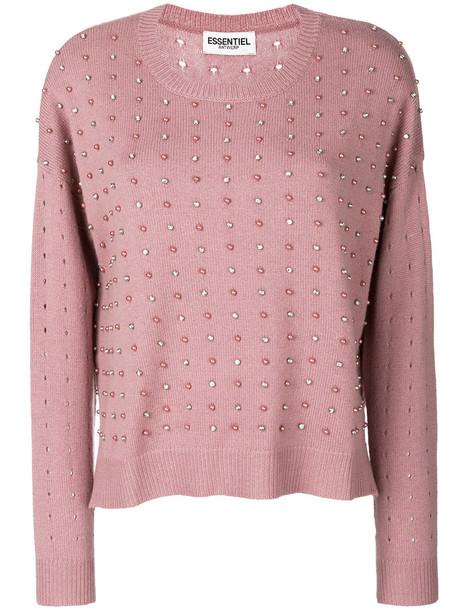 ESSENTIEL ANTWERP jumper women embellished wool purple pink sweater
