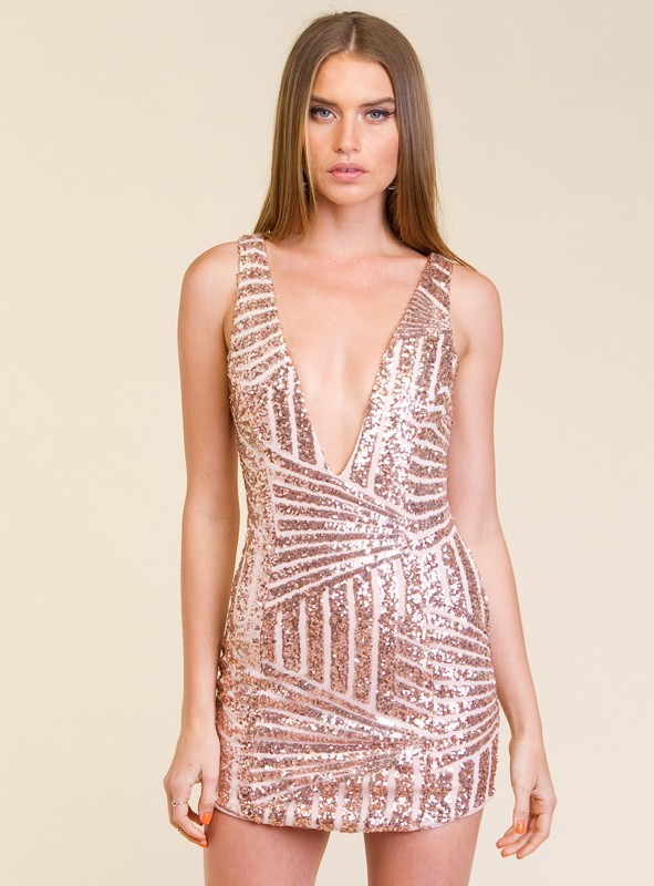 c025d59eb0 Avery Rose Gold Sequin Bodycon Dress