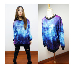 Online Shop Free Shipping 2013 New Arrival Good Quality Mysterious Blue Sky Galaxy Star Loose Thin Woman Sweater / Hoody / Top Shirt 91#|Aliexpress Mobile