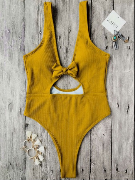 swimwear girly one piece swimsuit one piece yellow high leg cut