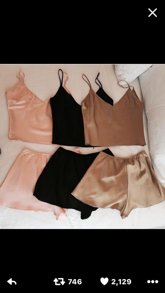 pajamas silk silky two-piece tank top shorts silky set matching lingere high waisted shorts crop tops lounge set
