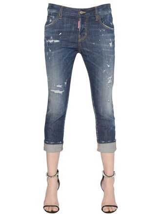 jeans girl cool cropped blue