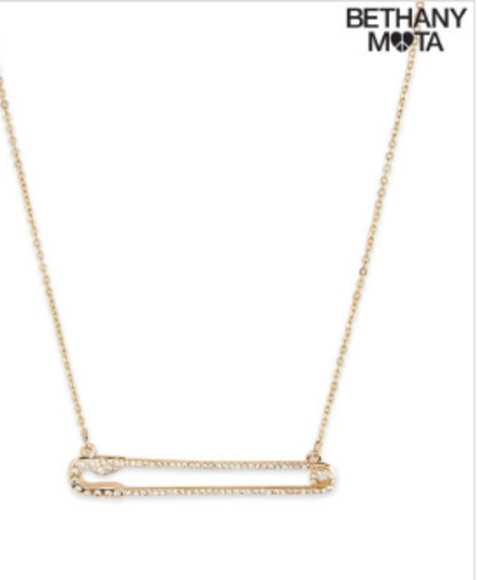 jewels necklace safety pin bling bethany mota