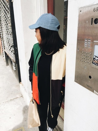 jacket green orange black yellow hat coat style streetwear streetstyle cap black jeans black top idc melanin on fleek tumblr outfit instagram tomboy chill colorful color/pattern bomber jacket dope urban multicolor colorblock