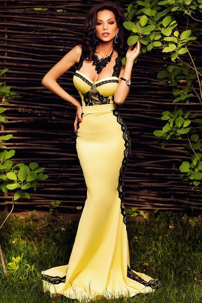 Dress Yellow And Black Chic Classy Mermaid Wots Hot Right Now