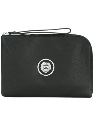 lion women clutch black bag
