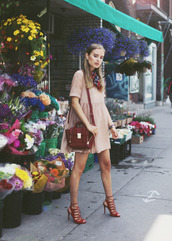 class is internal,dress,shoes,bag,scarf,jewels,nude dress,phillip lim,satchel bag,summer dress,streetstyle,blogger style,pink dress,off the shoulder,red heels,lace up heels,burgundy shoes,red bag,date outfit,spring dress
