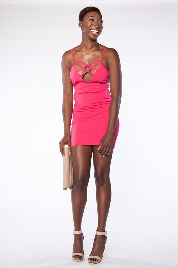 gabrielle union tyra banks pink dress hot pink dress fashion fuschia party party dress night outfit