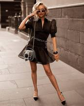 dress,black dress,mini dress,puffed sleeves,belted dress,mules,shoulder bag,sunglasses