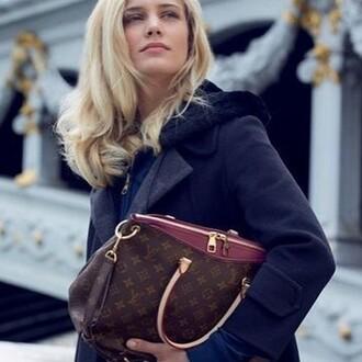 bag red lv handbag ladies bags pallas canvas fashion style monogram
