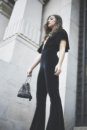 jumpsuit,tumblr,black jumpsuit,velvet,velvet jumpsuit,v neck,plunge v neck,ruffle,bag,bucket bag,party outfits,flare