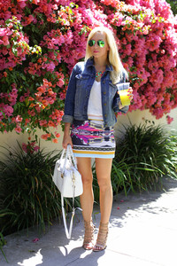 brooklyn blonde sweater shorts bag jewels sunglasses jacket skirt shoes